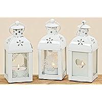 Lanterna con cuore Set Di 3 Lanterna a vento Decorazione giardino Candela lanterna Porta tea light