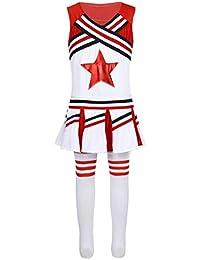 MSemis Disfraz de Animadora para Niña Chica Edad 4-14 Años Uniforme de  Cheerleading 3Pcs f0fd53ce9d7f6