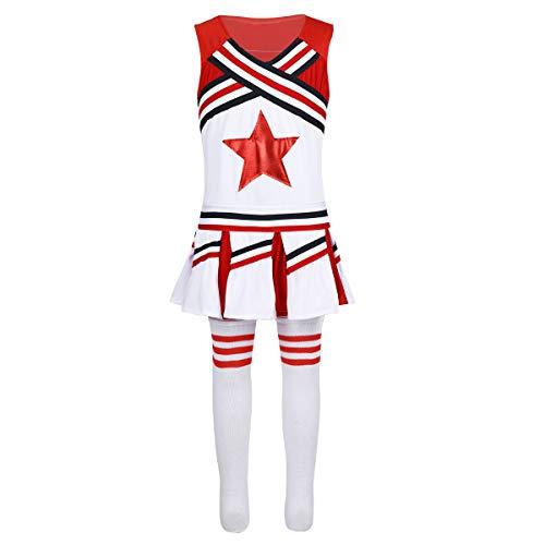 dPois Mädchen Cheerleaderin Kostüm Schulmädchen Uniform Kinder Bekleidungsset Sports Bekleidung Cheerleading Kostüm Karneval Fasching Party Halloween Verkleidung Rot 152-164/12-14Jahre