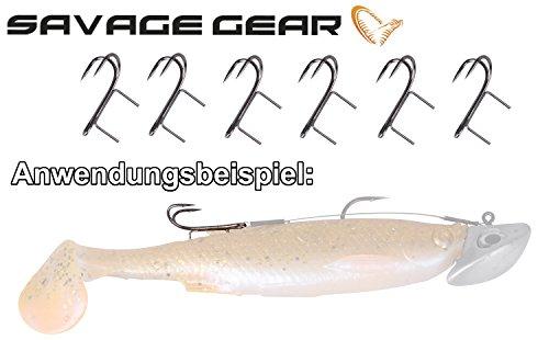 Savage Gear Twin Spike Double Hook Angsthaken für Gummifische, Raubfisch, Hecht, Zander, Raubfischangeln, Haken, Forelle, Größe:2
