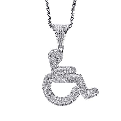 ANLW Herren Halskette Hip Hop Rollstuhl Behinderte Zeichen Anhänger eingelegten Zirkon Bling Kette mit 24