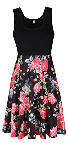 ELFIN® Damen Kleid Herbst 3/4 Arm Rundhals Blumenkleider Cocktail Partykleid Casual Basic A-Linie Kleider Jerseykleid Stretch (Sportlich Schickes Kleid)