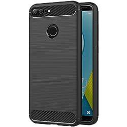 AICEK Coque Honor 9 Lite, Noir Silicone Coque pour Huawei Honor 9 Lite Housse Fibre de Carbone Etui Case (5,65 Pouces)