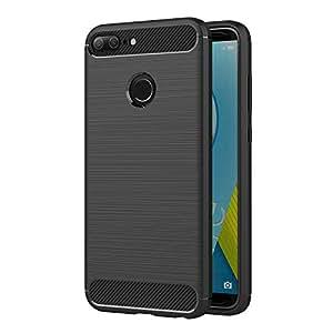 AICEK Cover Honor 9 Lite, Nero Custodia Huawei Honor 9 Lite Silicone Molle Black Cover per Honor 9 Lite Soft TPU Case (5.65 Pollici)