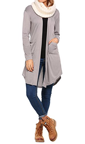 Frauen Strickjacke Lange Ärmel Lange Offene Knielang mit Taschen Fließend Casual Sweatshirts Loose Fit Grau