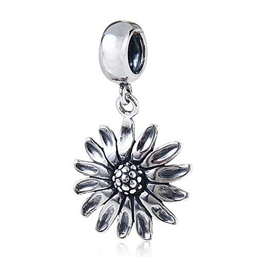 Sunflower charm in argento sterling 925fiore compleanno charm love ciondolo pendente per pandora fascino bracciale