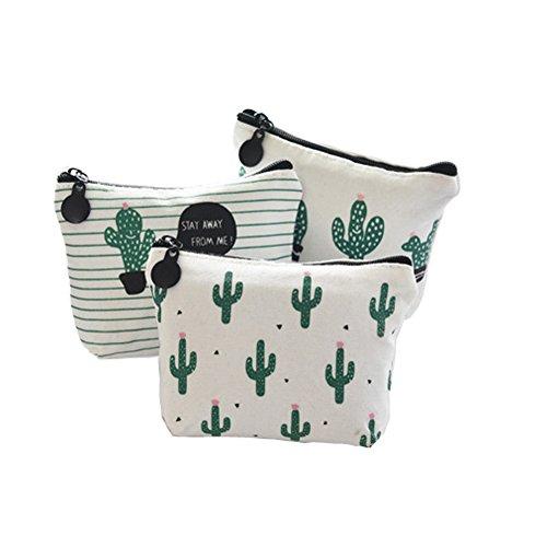 Ruikey 3Pcs Billetera Cactus Monederos De Tela Pequeños