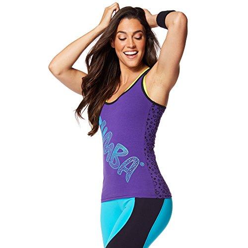 Zumba Fitness Comic Racerback - Camiseta sin mangas para mujer, color violeta,...