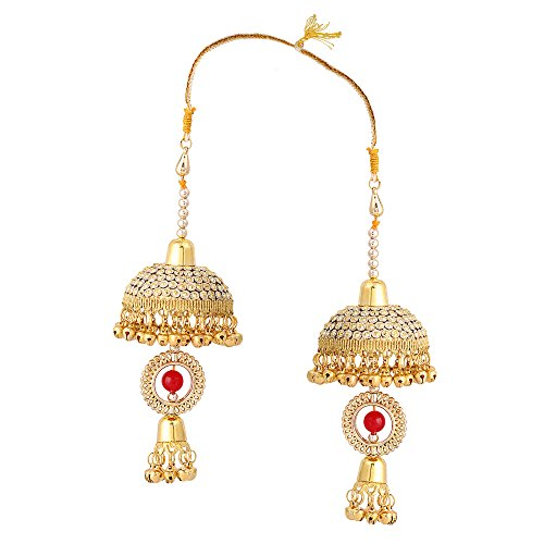 Sanjog Embellished Red Stone And Golden Metal Kaleera Kalira Set For Bridal Women -Pack Of 2