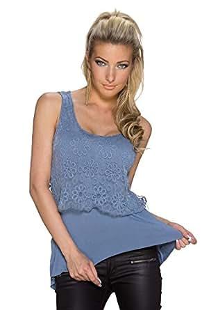 4094 Fashion4Young Damen ärmelloses Top im Double-Layer-Look Spitze Shirt verfügbar 7 Farben Gr. 34/36 (34/36, Blue)