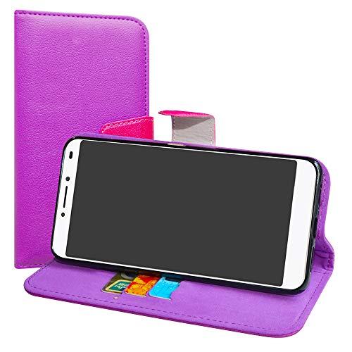 LiuShan Alcatel 3v Hülle, Brieftasche Handyhülle Schutzhülle PU Leder mit Kartenfächer und Standfunktion für Alcatel 3v Smartphone (mit 4in1 Geschenk verpackt),Violett
