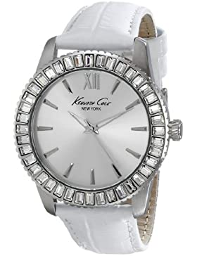 Kenneth Cole New York Damen KC2849 Classic Round Silver Dial White Croco Strap Armbanduhr