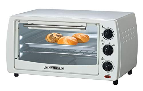 Mini Backofen 13 Liter | inkl. 2x Backblech | Pizzaofen | 60°-250°C | Timer | aufklappbares...