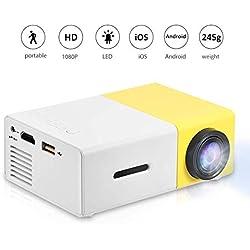 Garsent Mini Projecteur, LED Vidéoprojecteur Home Cinéma avec 1500 Lumens Soutien HD 1080p HDMI USB VGA AV SD Projecteur de Cinéma Compatible avec iPhone iPad Smartphone TV Xbox PC.(YG 300 Jaune)