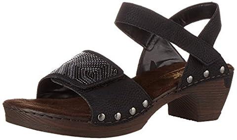 Rieker Damen 66868 Offene Sandalen mit Keilabsatz, Schwarz (Schwarz / 00), 38 EU