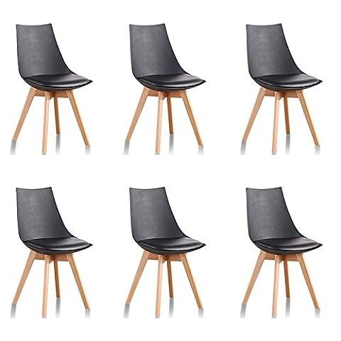Lot de 6 chaises scandinaves noires - Prague