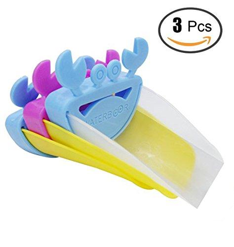 Preisvergleich Produktbild 3-Set Baby-Kind-Waschbecken Wasserhahn Extender Chute Krabbe Form Kawaii Sink Griff Extender für Kinder, Kinder, Kleinkinder, BPA-frei