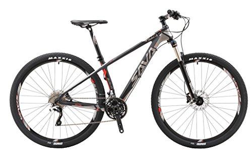 """SAVA DECK 700 27.5""""/29"""" Bicicleta de Montaña de Fibra de Carbono MTB 22-Velocidad Shimano 8000 DEORE XT Hard Tail Bicicleta Manituo Horquilla de Suspensión Mountain Bike Maxxis Neumáticos (29*17"""", gris)"""