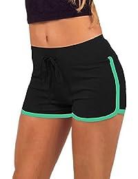 Hosaire Femme Short de Sport Casual Yoga Mode Plage avec Bords Colorés 3 Tailles Vert/Blanc/Rose