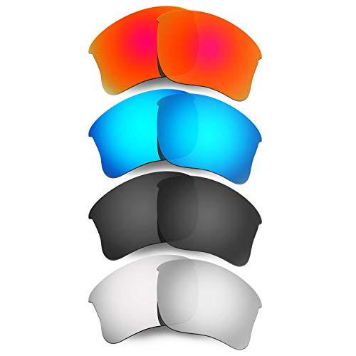 HKUCO Mens Replacement Lenses For Oakley Flak Jacket XLJ Sunglasses Red/Blue/Black/Titanium Polarized