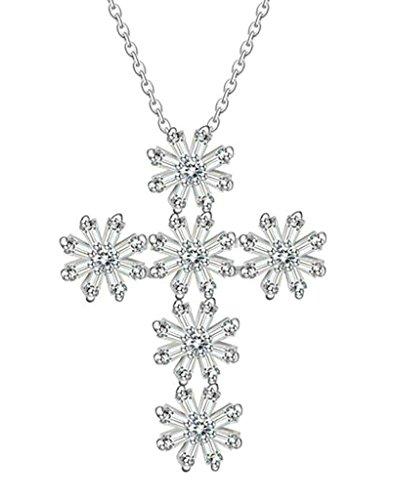 Daesar Vergoldet Halskette Damen Anhänger Halskette Snowflake Cross Weiß Kette Kette Strass Zirkonia Damen Halskette -