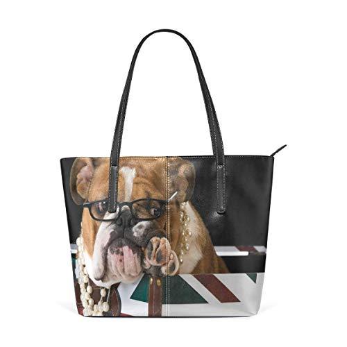 Englische Bulldogge Britische Flagge PU Leder Schultertasche Handtasche für Frauen Mädchen -