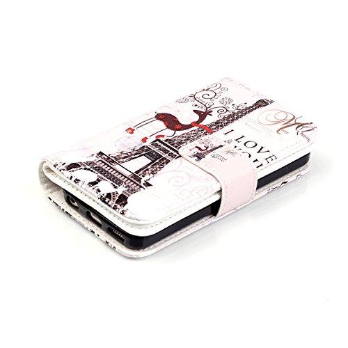 MOONCASE iPhone 5C Coque,[Butterfly] Relief Multifonction Fentes de Cartes Housse en Cuir Etui à rabat Case avec Portefeuille Béquille Fermeture Magnétique pour iPhone 5C Deer and Tower