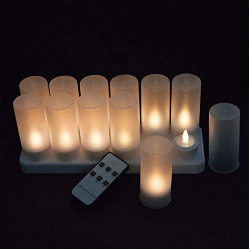 ADAHX LED Candles, wiederaufladbare Flameless Candle Battery Flickering Candles Withremote Control Electronic Tea Wax Warm White Plastic Tea Wachslampe (12pcs),White