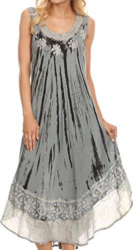 Sakkas 15009 - Alexis Bestickte lange ärmellose Blumen Kaftan Kleid / Abdeckung-Staubig Blau-OS (Abdeckung Kleid)