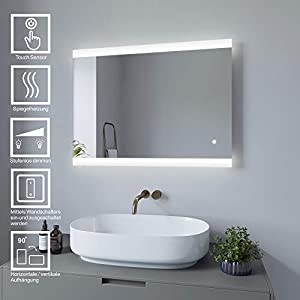 AQUABATOS 80x60 cm Badspiegel mit Beleuchtung Anti Beschlag Badezimmerspiegel Lichtspiegel LED Wandspiegel Dimmbar mit Touch-Schalter kaltweiß IP44 energiesparend
