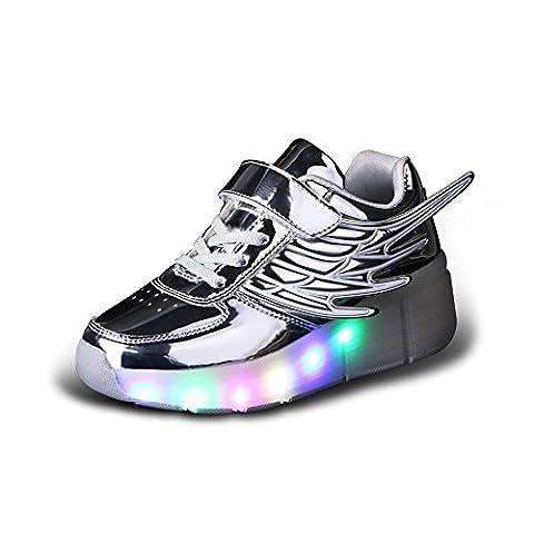 Luckly Grace Unisexe Enfant Chaussures de Skateboard Clignotantes avec 7 Couleurs LED Colorés Baskets Sport à Roulettes Sneakers Style d'ailes d'ange de Garçon et Fille (29 EU, argent)