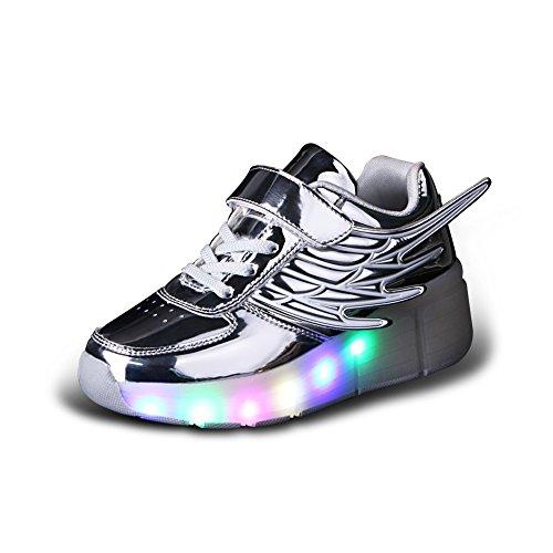 Licy Life-UK LED Lumières Clignotant Couleur Changeant Chaussures de Multisports Outdoor à Roulettes Sports Gymnastique Sneakers avec Rouleau Fille Garçon