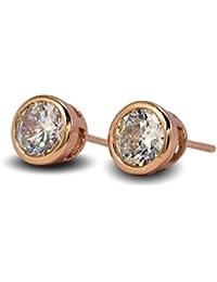 Blue Diamond Club - Simulated White Diamond 7mm 24ct Gold Filled Bezel Stud Earrings Mens Womens 24K G/F