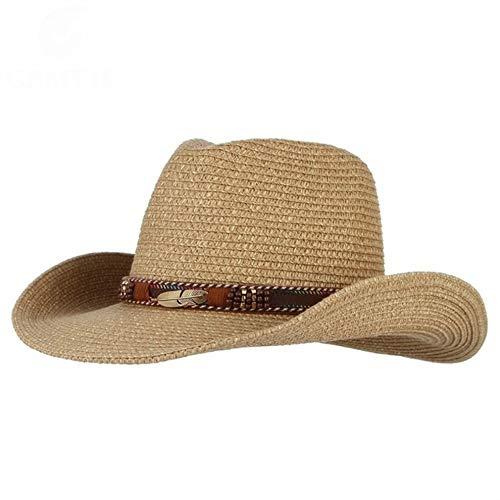 Perlen Cowgirl Hut (YMCLL Klassische Panama Hut Western Cowboy Hut Sonnenhut Für Männer Frauen Sommer Strohhüte Mit Legierung Feder Perlen Cowgirl Cap)