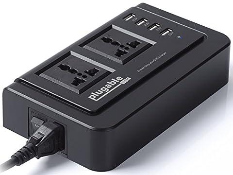 Bande d'alimentation Plugable Power 2015 universelle double utilisable sur secteur avec chargeur intégré à 4 ports USB 34 W intelligent pour de nombreux appareils Android, Apple iOS, et Windows