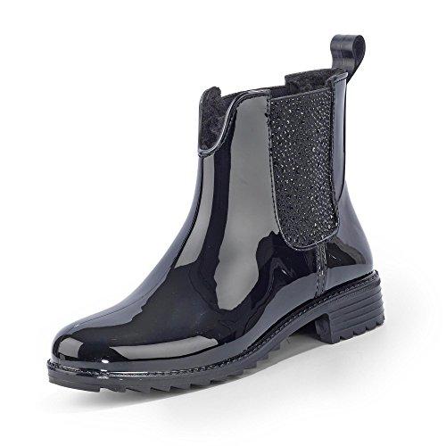 Rieker Damen Gummi-Stiefel gefüttert Schwarz, Schuhgröße:EUR 39