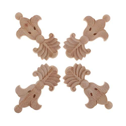 B Baosity 4 Piezas Apliques de Madera Tallada Puede Pegado en Pared, Puertas, Muebles, Armarios, Armarios, Ventanas o Espejos para Decoración