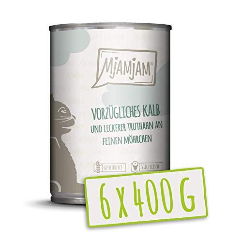 MjAMjAM - Premium Nassfutter für Katzen - vorzügliches Kalb & Truthahn an leckeren Möhrchen, 6er Pack (6 x 400 g), getreidefrei mit extra viel Fleisch