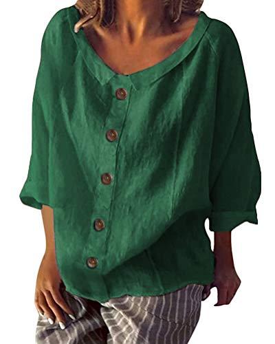 Minetom Shallood Damen T-Shirt Tops Sommer Baumwolle Leinen Lässig geknöpft-Dekor Bluse B Grün DE 48 Grüne Damen Pullover