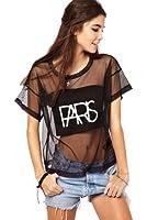 Dayiss®Punk Damen Kurzarmshirt T-Shirts Sommer Tops Rundhals Tüll transparent leger Party Oberteil locker