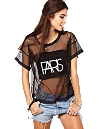 Dayiss®Punk Damen Kurzarmshirt T-Shirts Sommer Tops Rundhals Tüll transparent leger Party Oberteil locker
