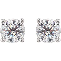 izaara 925 Sterling Silver 0.5 mm Round Cubic Zirconia White Solitaire Earrings for Women
