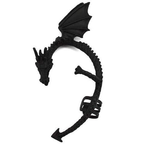 Elixir77UK Jet Black Colour Dragon Snake Cuff Cartilage Wrap Non Pierced Left Ear Earring UK SELLER