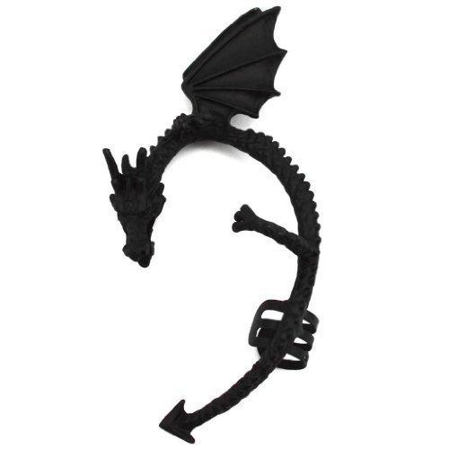 Elixir77UK Ohrklammer Schwarz Drachendesign kein Ohrloch nötig für linkes Ohr