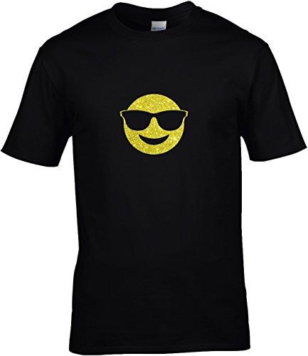 Shirt Karneval Herren Gruppen GLITZERDRUCK Fasching Junggesellenabschied Emoji Kostüm Emoticon Smiley Relaxt mit Sonnenbrille, Entspannt Chillen, 3XL