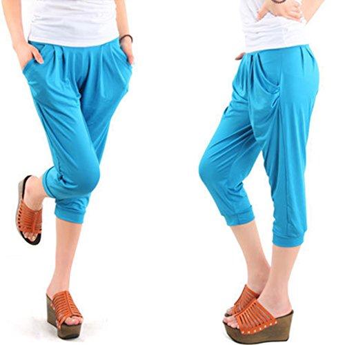 Pantaloni di seta di ghiaccio di vita elastica delle mutandine casuali di estate delle donne ansima il formato grande Azzurro