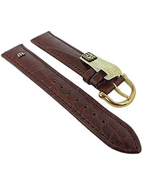 XL Ersatzband Maurice Lacroix Louisiana echt Kroko Leder mit Symbol braun 27657, Stegbreite:20mm, Schließe:Gelbgolden