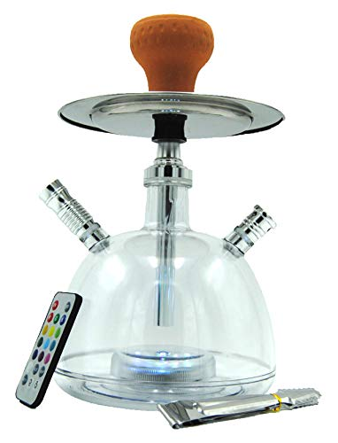 Cachimba Shisha LED Pipa de Agua 28 CM Pack Hookah Electronica de Tabaco Narguile (Transparente)
