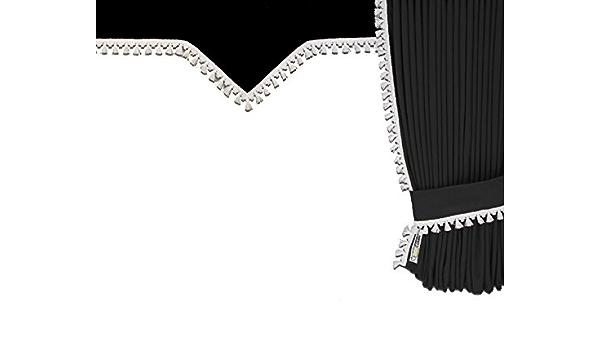 Mandys Truckershop LKW-Gardinen-Set VF aus Velours schwarz mit Bommel wei/ß f/ür Man TGA//TGX XL