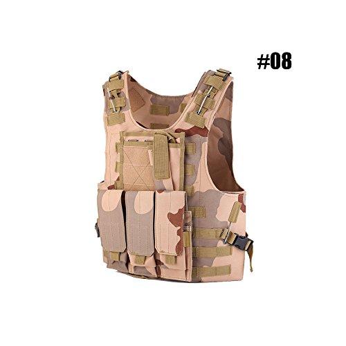 Taktische Weste Einstellbar Kampfweste Molle Schutzweste Einsatzweste Sportbekleidung mit Abnehmbare Beutel für Jagd Paintball Airsoft CS, Schutzkleidung Brustschützer (#08 - Desert Camouflage)